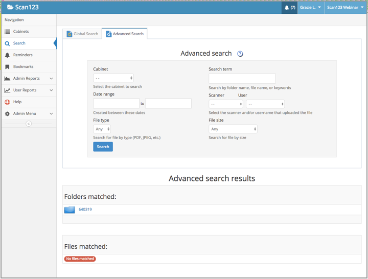 Advanced Search, with results