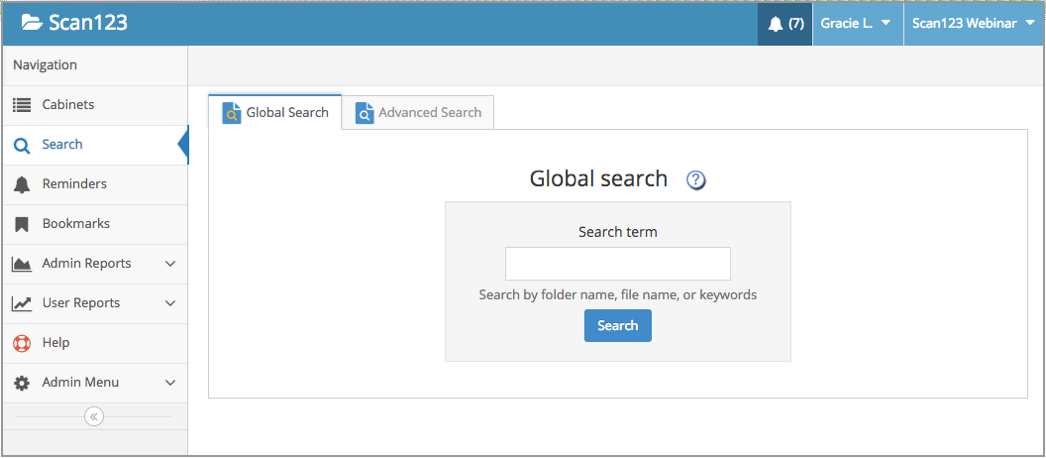 Global Search, before entering a search